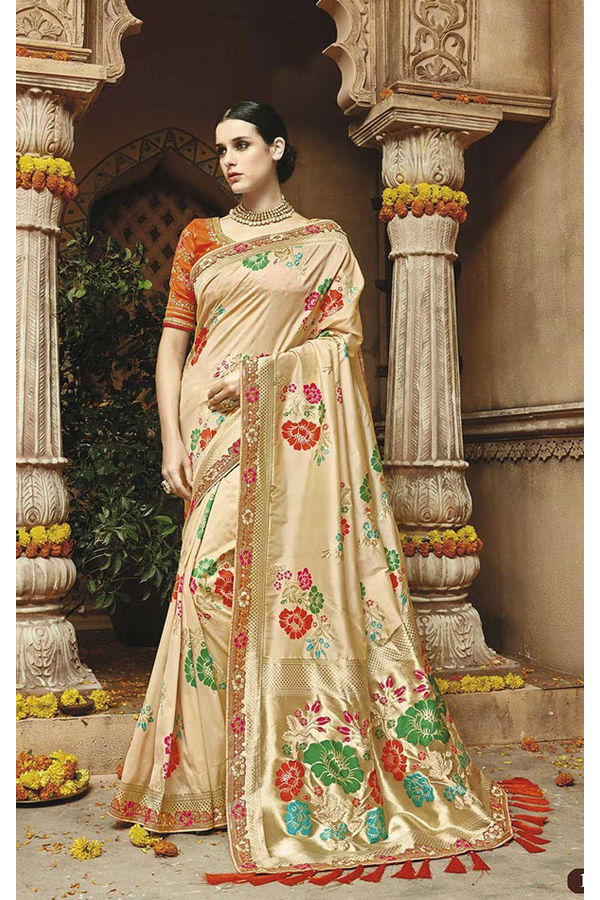 Cream Kanjeevaram Silk Saree with Floral Motifs
