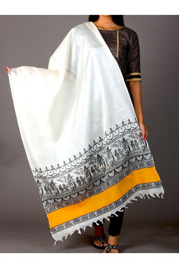 Dee's Alley Madhubani Printed Pure Tussar Silk Dupatta