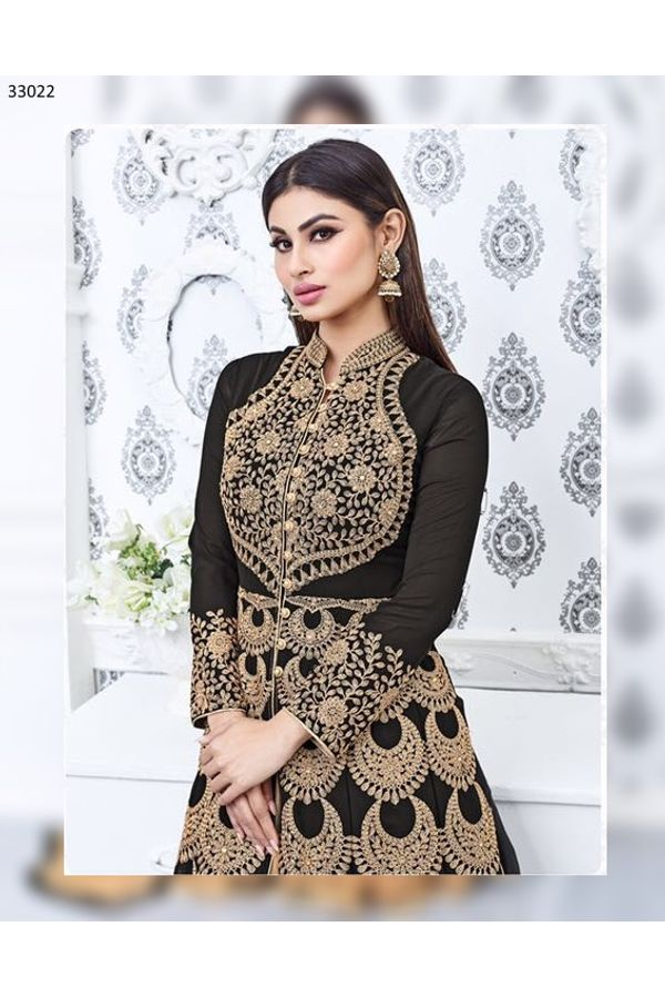 Mouni Roy Black Lehenga Anarkali Salwar Suit