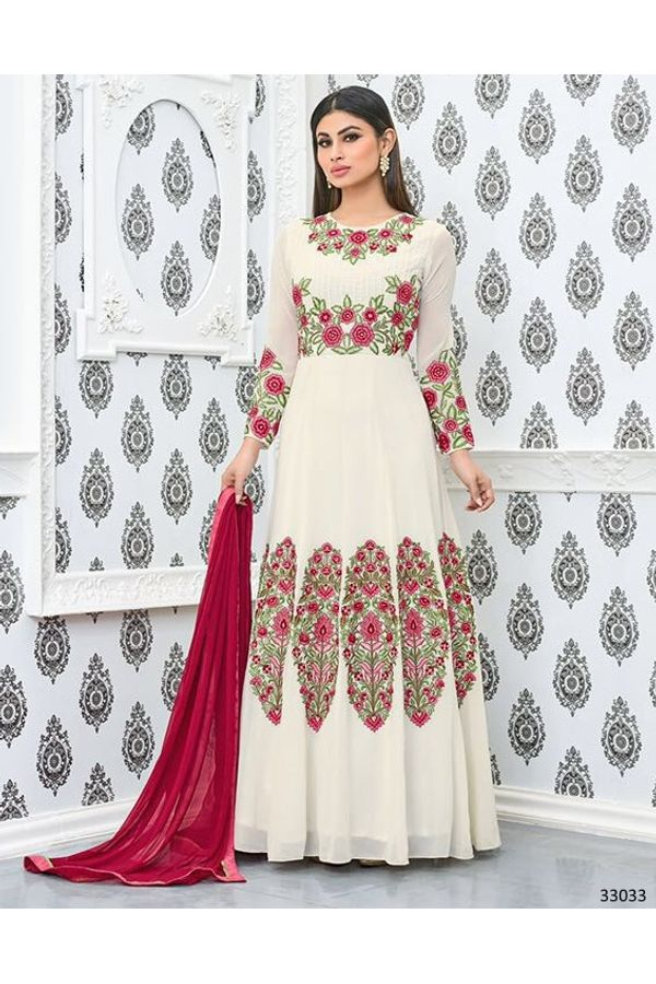Mouni Roy White  Long Anarkali Salwar Suit with Resham Thread Work