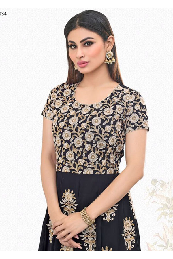 Mouni Roy Black Embroidered  Long  Anarkali Salwar Suit