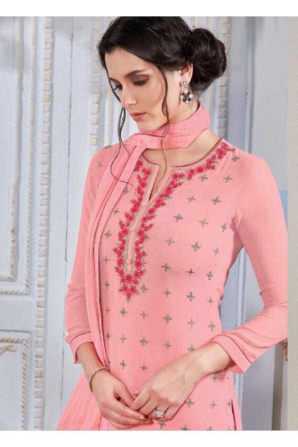 Embroidered Georgette Straight Salwar Suit_101