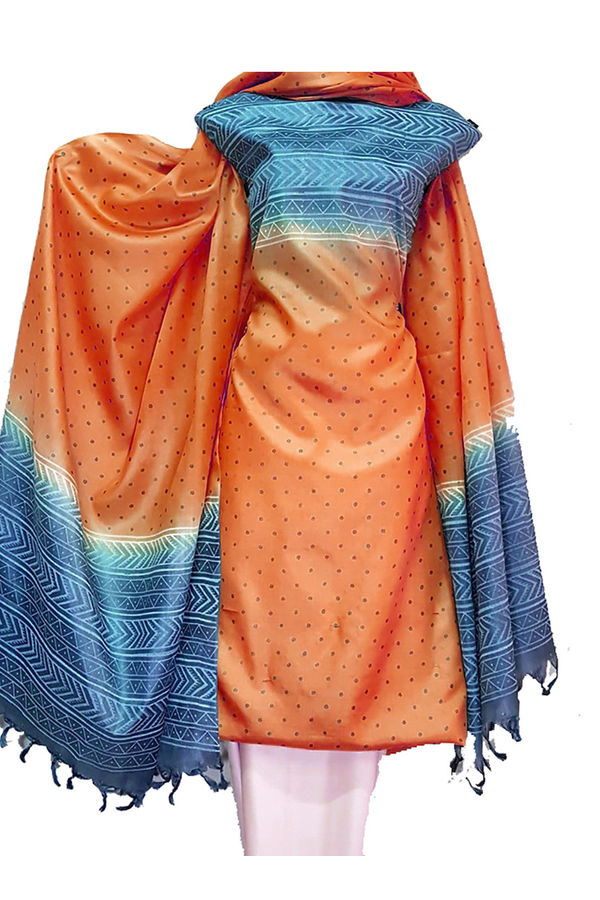 Block Printed Pure Tussar Silk Material in Orange with Blue