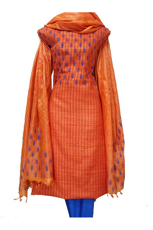 Tussar Silk Suit in Orange and Blue Colour