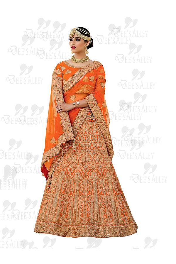 Orange Art Silk Lehenga Choli with Resham and Zari work