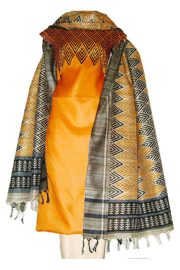 Block Printed Jute Tussar Dress Material in Orange _24
