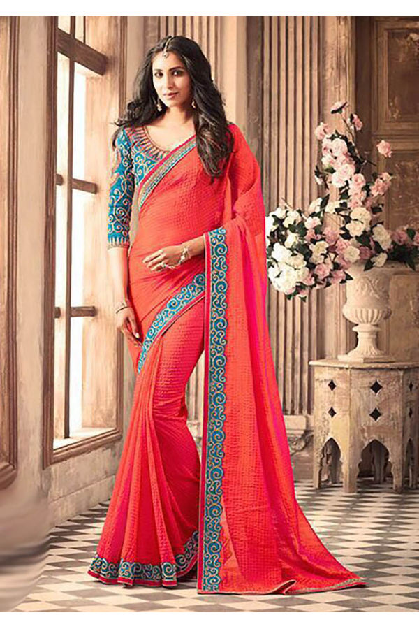 Beautiful Party Wear Saree with Contrast Designer Blouse