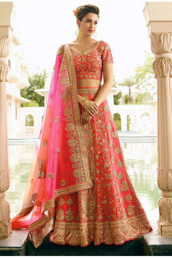 Coral Pink  Raw Silk Heavy  Wedding Lehenga Choli