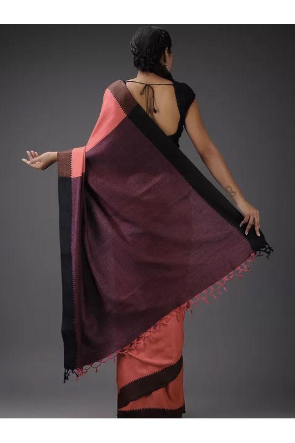 Dee's Alley Black Pink  Eri-Tussar Silk Saree