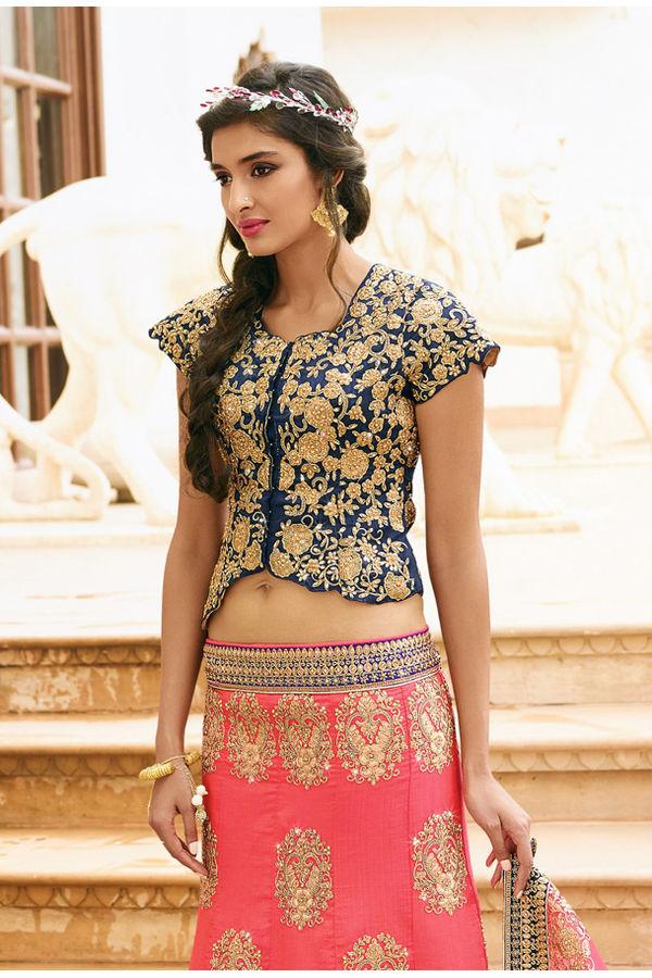 Pink and Blue  Raw Silk Heavy  Wedding Lehenga Choli