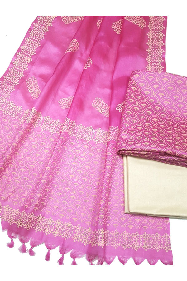 Pure Tussar Silk Material  in Pink Colour