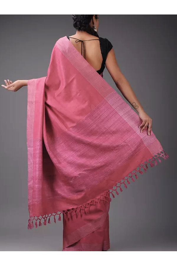 Dee's Alley Pure Eri-Tussar Silk Saree in Pink Color