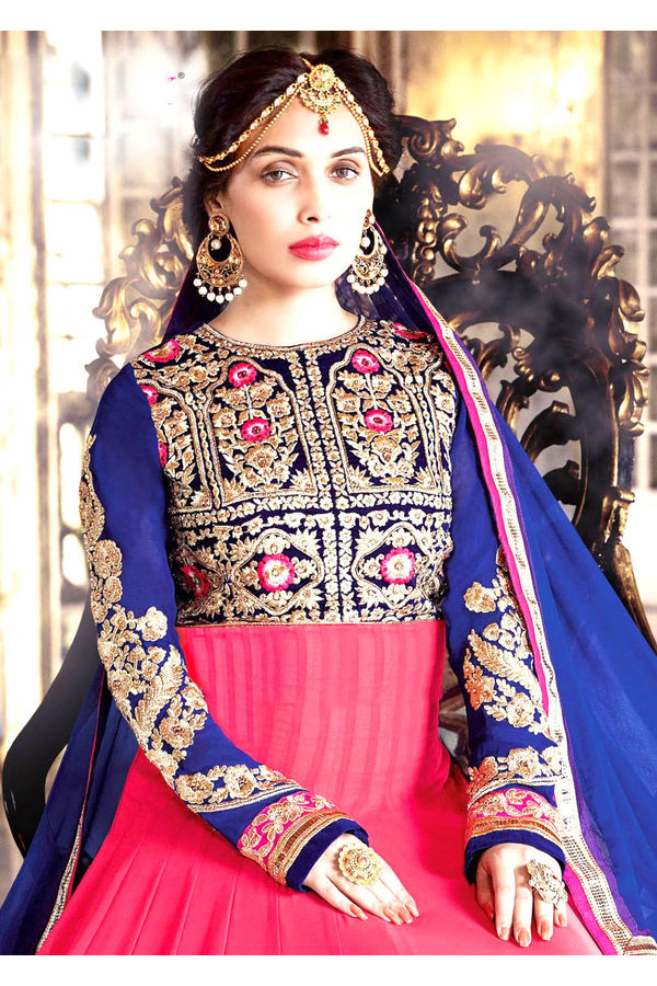 Blue and Pink Anarkali Dress with Zari and Embroidery Work