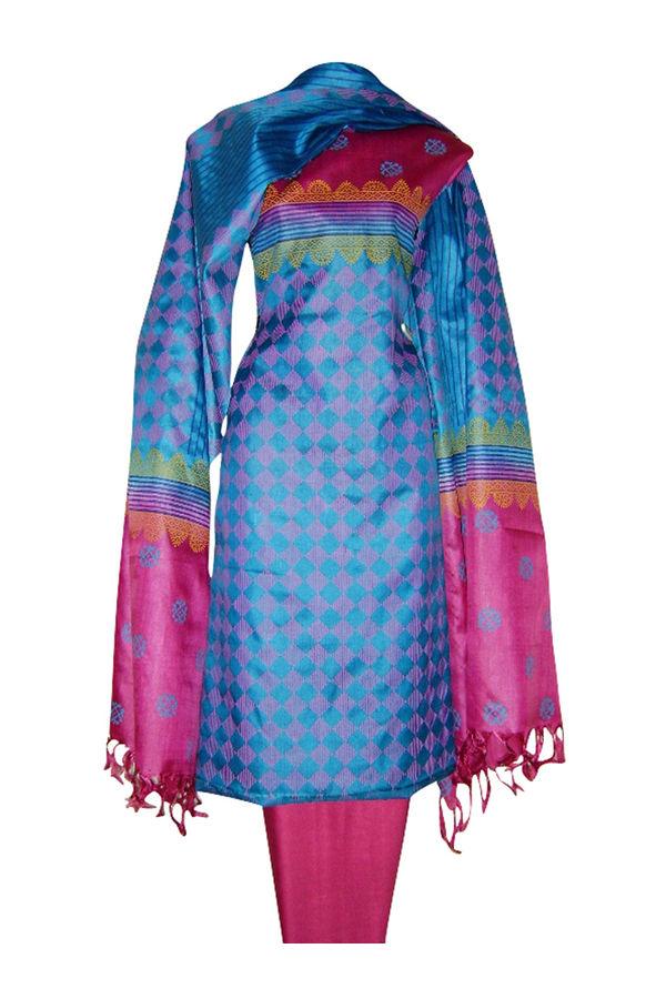 Printed Tussar Silk Suit Material Blue11