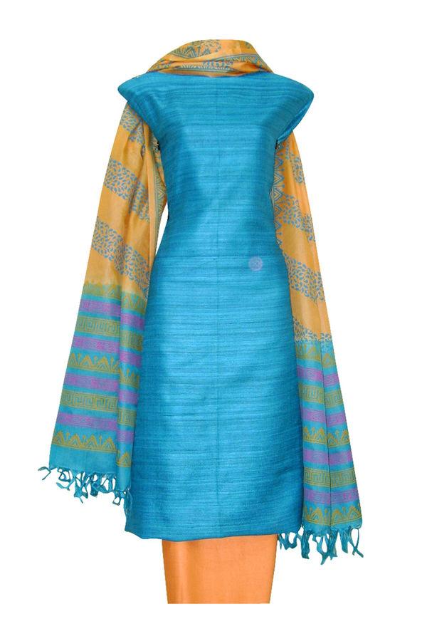 Printed Tussar Silk Suit Material Blue16