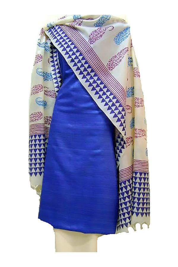 Printed Tussar Silk Suit Material Blue47