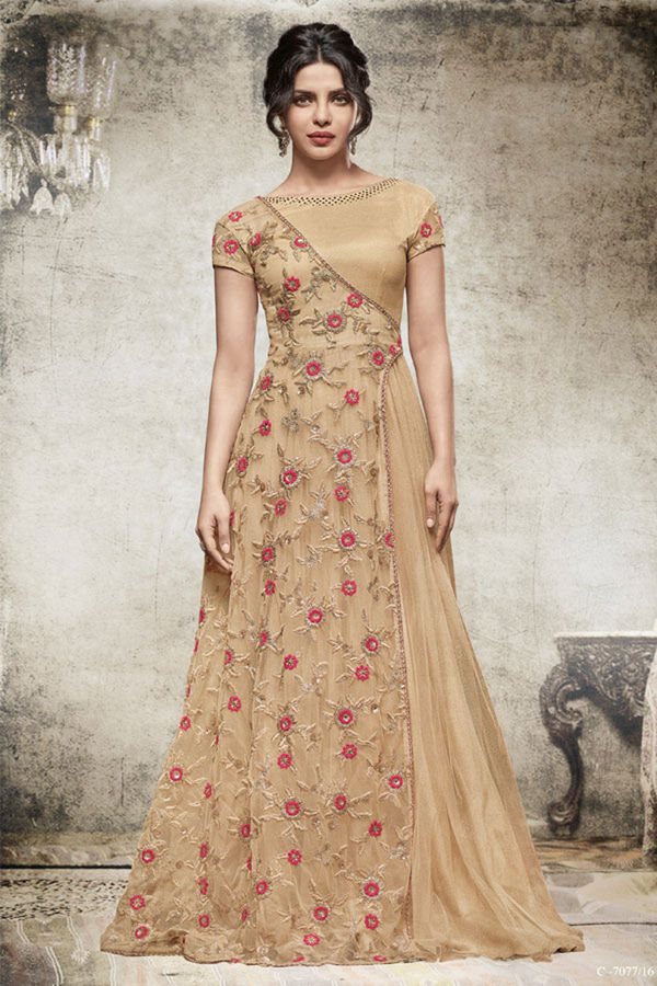 Ravishing Brown Colour Shimmer Net Gown Style Suit