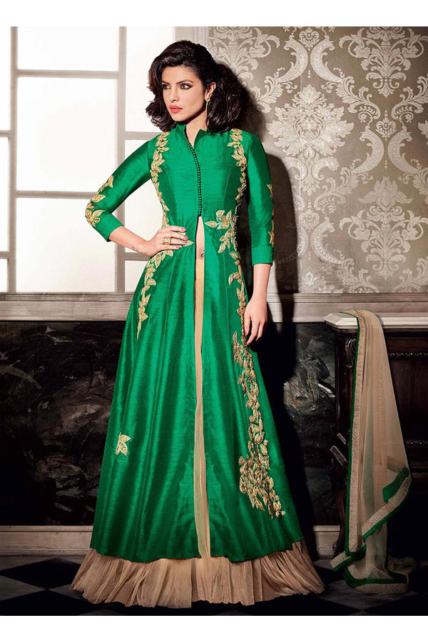 Layered Green Embroidered Anarkali Suit Featuring Priyanka Chopra