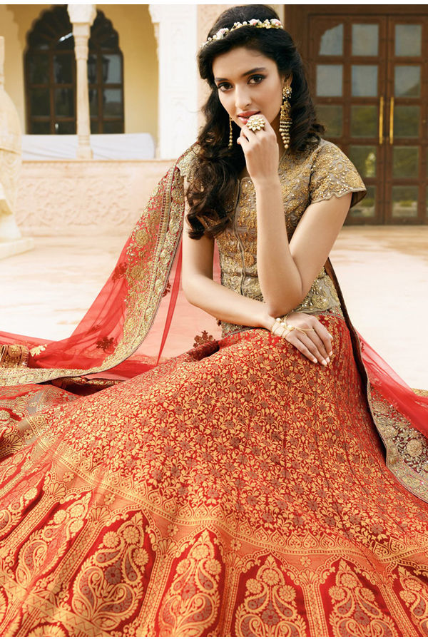 Red & Beige Heavily  Embroidered Lehenga Choli with Red Net Dupatta