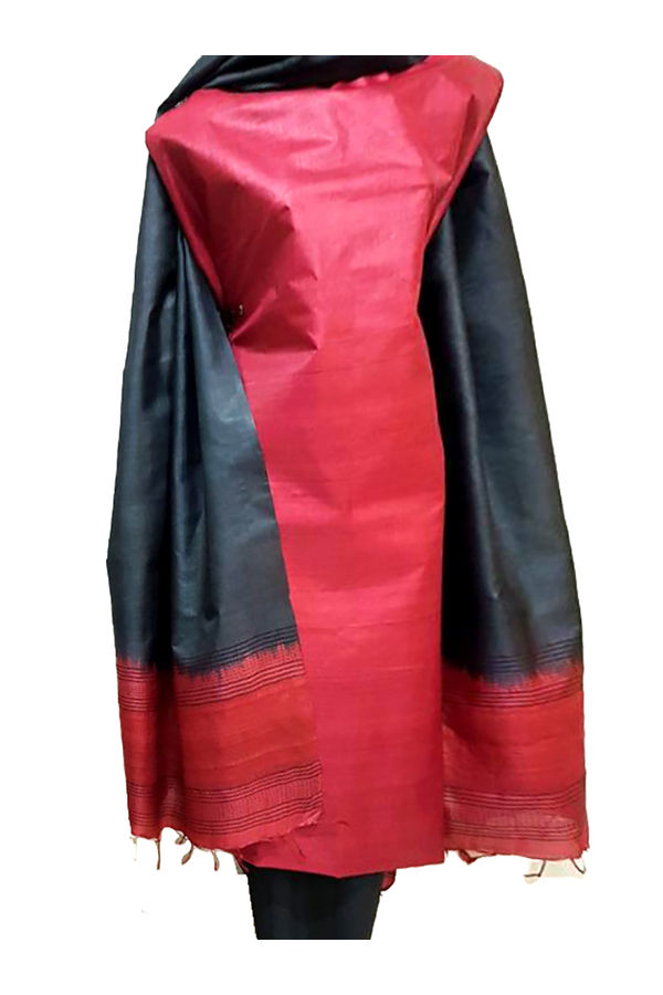 Red Black Desi  Tussar Silk Churidar Suit