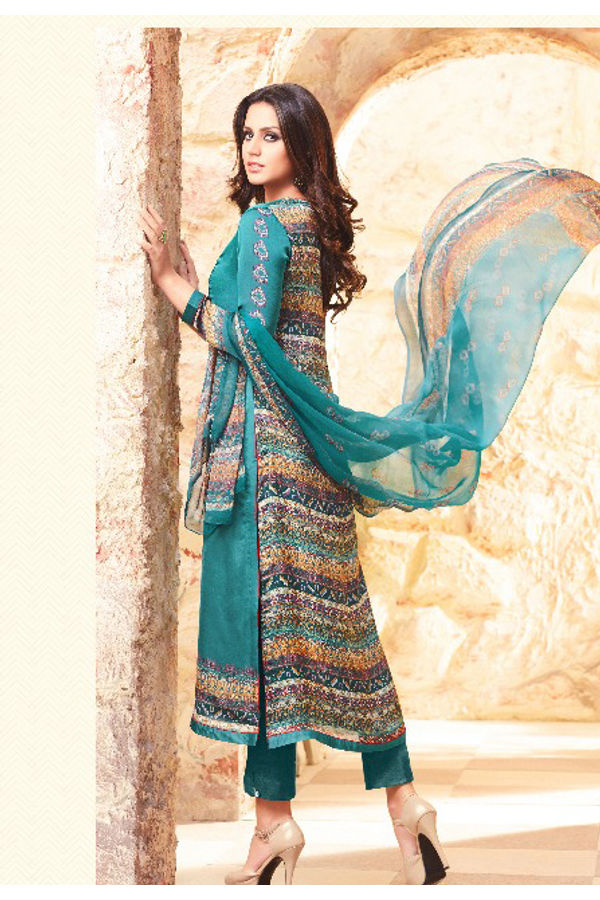 Embroidered Georgette Satin Salwar Suit_1
