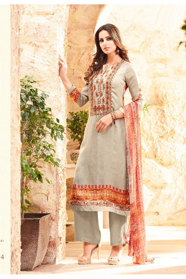 Embroidered Georgette Satin Salwar Suit_5