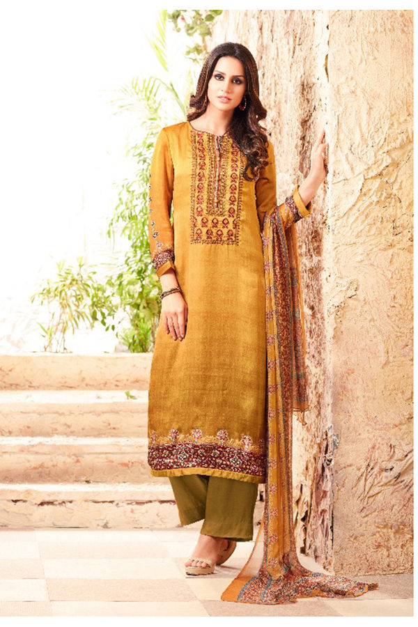 Embroidered Georgette Satin Salwar Suit_6