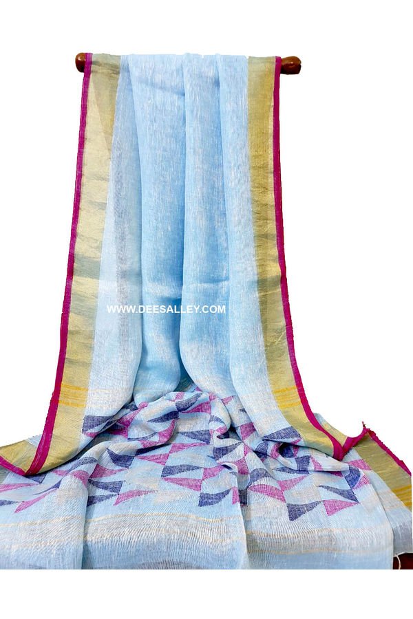 Dee's Alley  Pure Linen Silk Saree with  Jamdani work  in Lightl Blue