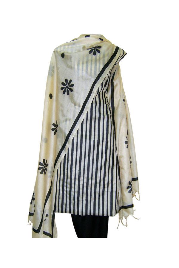 Printed Black Tussar Silk  Salwar Suit