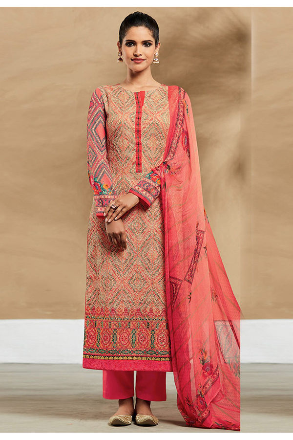 Embroidered Cotton Pant Style Straight Suit_7401