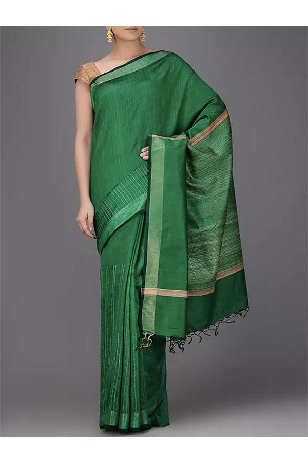 Dee's Alley Green Desi Silk Saree with Ghicha Pallu