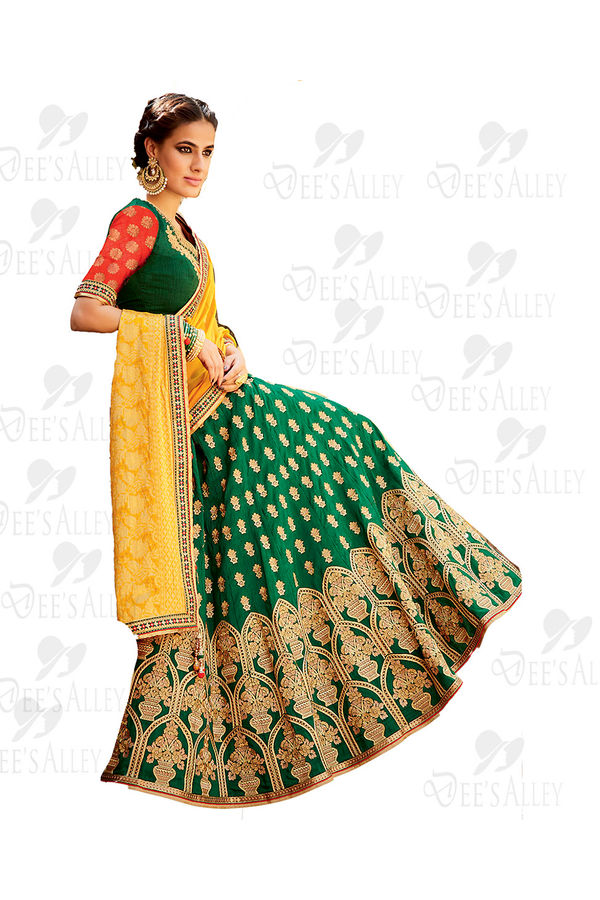 Green Yellow Banarasi Silk Jacquard Lehenga Choli