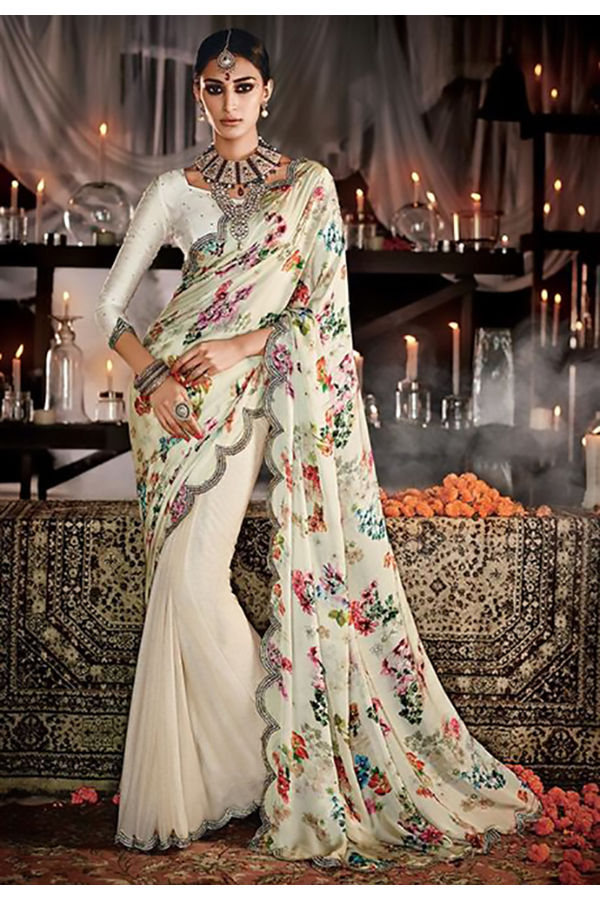 Designer Wedding Wear Floral Printed Satin Lycra Saree