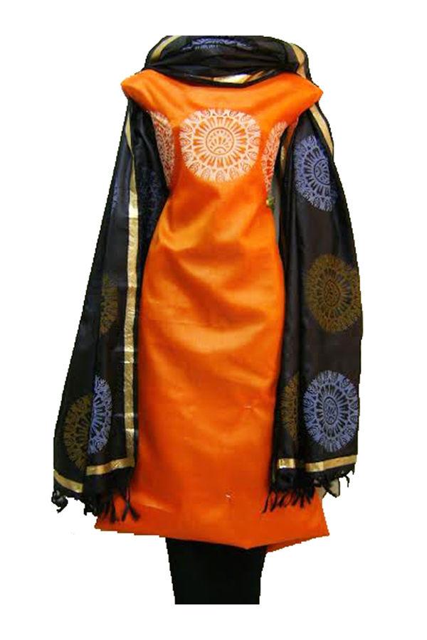 Block Printed Tussar Dress Material in Orange _1