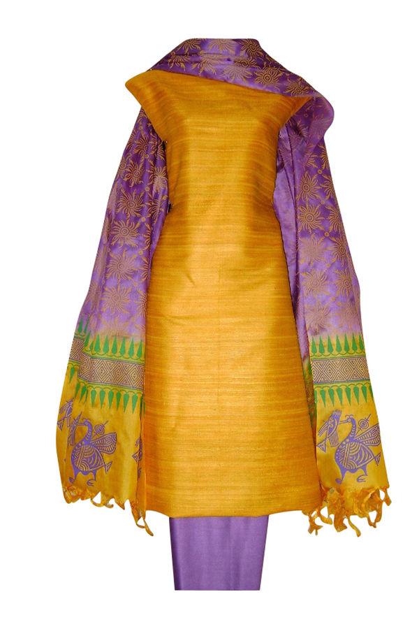 Block Printed Tussar Dress Material in Orange _11