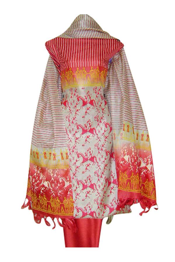 Block Printed Tussar Dress Material in Orange _15