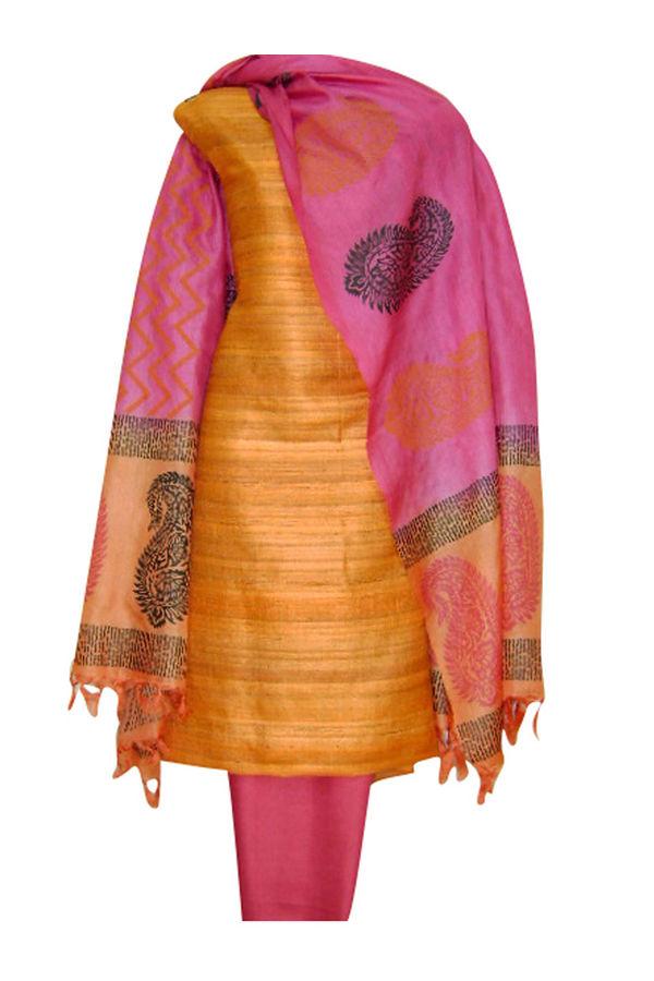 Block Printed Tussar Dress Material in Orange _2