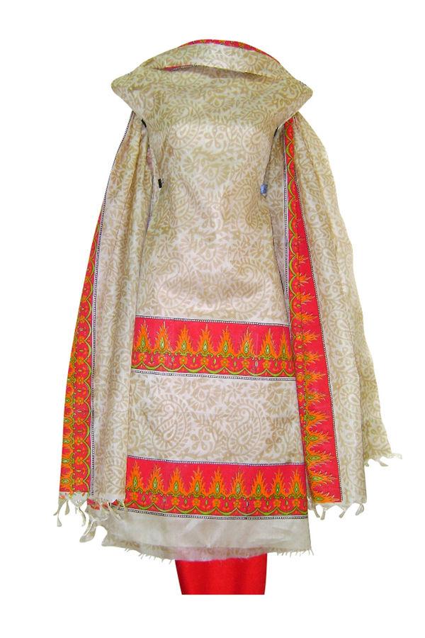 Block Printed Tussar Dress Material in Orange _22