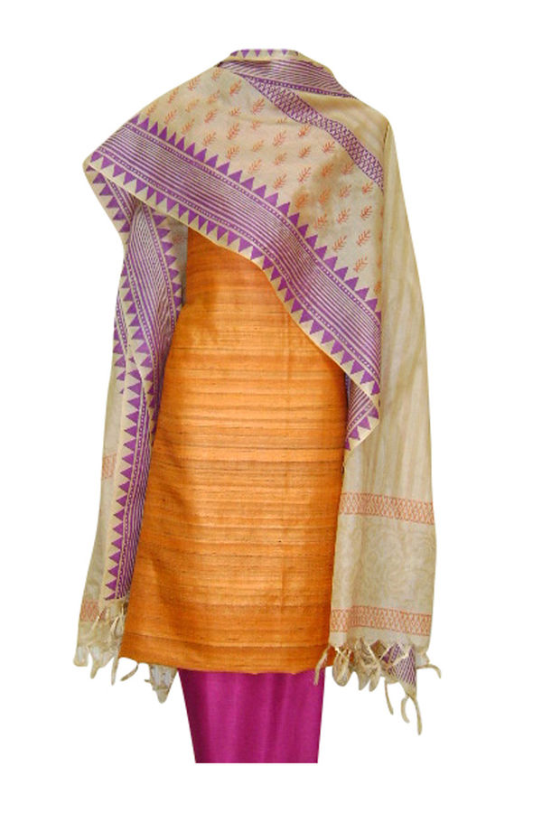 Block Printed Tussar Dress Material in Orange _3