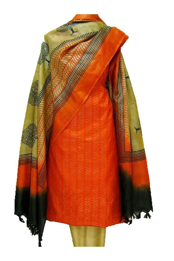 Block Printed Tussar Dress Material in Orange _4