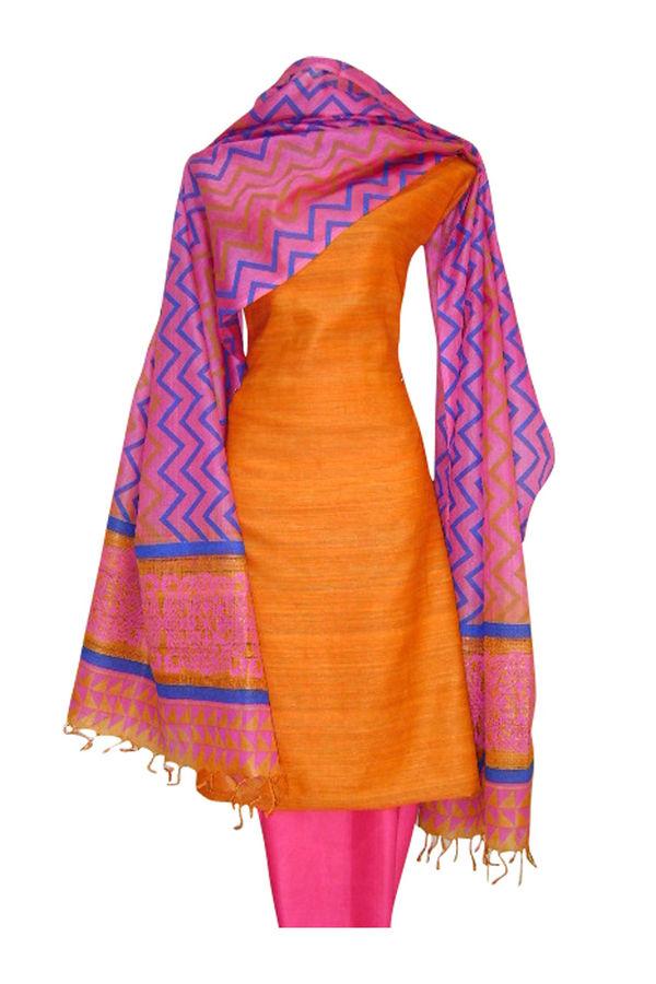 Block Printed Tussar Dress Material in Orange _5