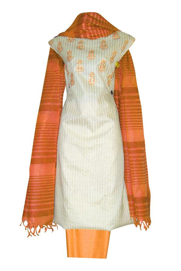 Block Printed Tussar Dress Material in Orange _6