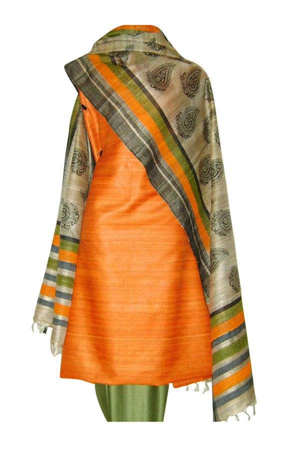 Block Printed Tussar Dress Material in Orange _9
