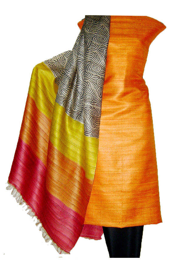 Block Printed Tussar Dress Material in Orange _18