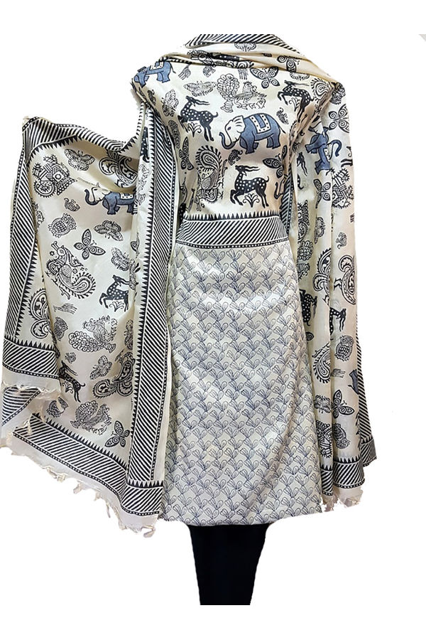 Tussar Silk Suit in white and black Combination