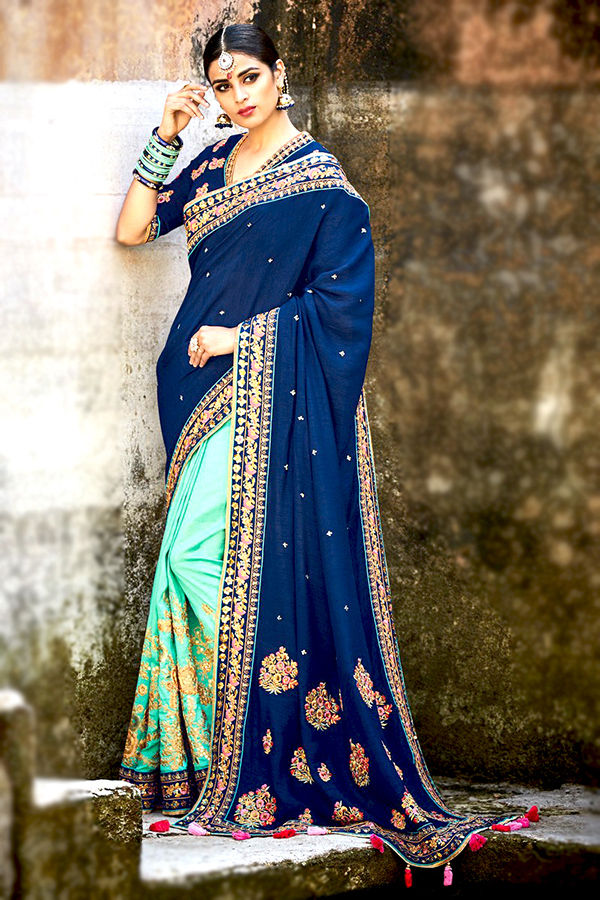 Blue Turquoise Pure Tussar Silk Heavy Embroidered Saree