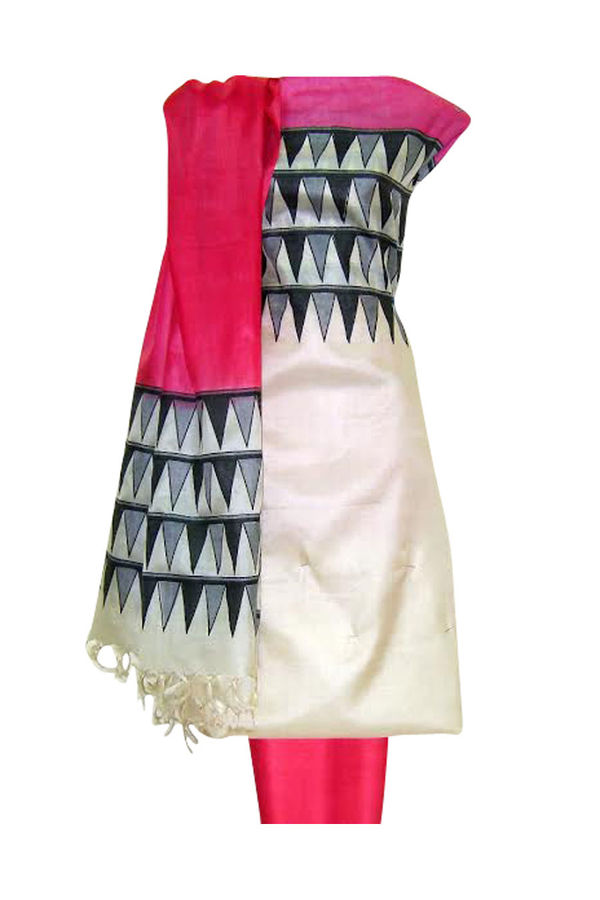 Tussar Silk Suit Fabric in Cream Shade_24