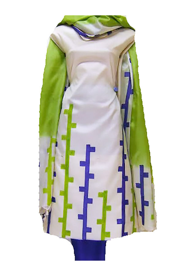 Tussar Silk Suit Fabric with Geometric Prints