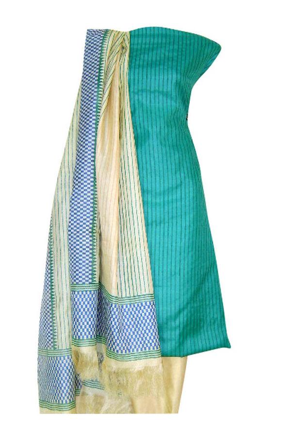 Tussar Silk Suit Block Printed In Green Shade _25