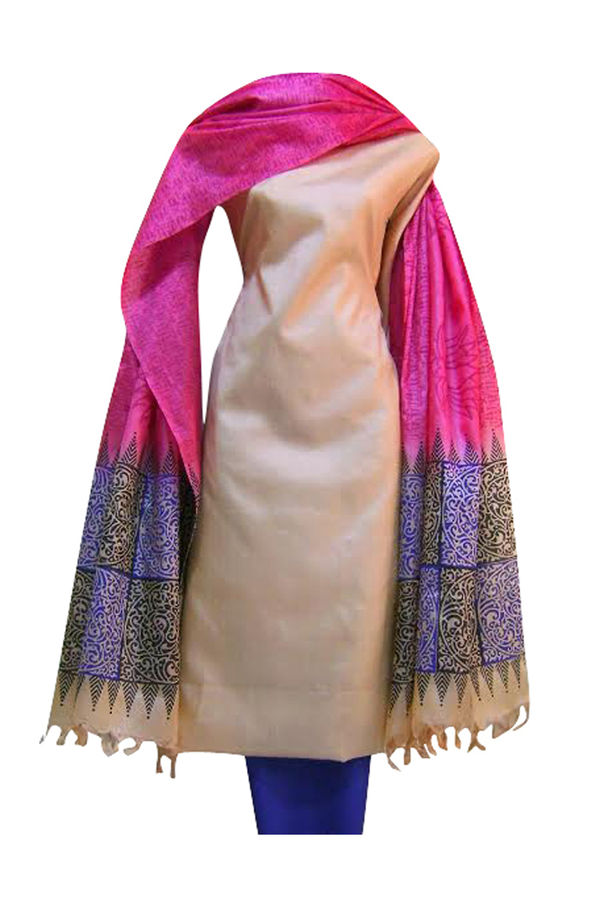 Pure Tussar Silk Suit in Pink Color_ 13